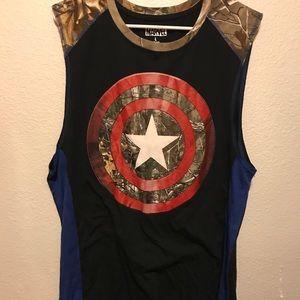 Captain America Camo Tank Top Men's Large